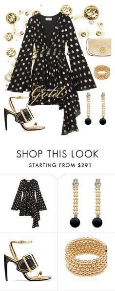 """""""Golden Polka Dots"""" by mdfletch ❤ liked on Polyvore featuring Yves Saint Laurent, Marni, Burberry, Magdalena Frackowiak, Tory Burch and goldenpolkadots"""