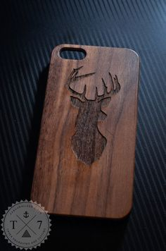 Deer Head Antler Wooden iPhone 4/4s iPhone 5/5s case walnut bamaboo wood iphone case on Etsy, $19.99