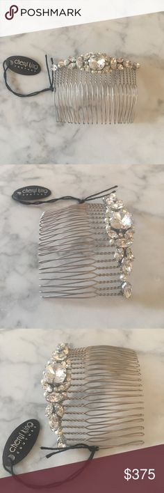 """Cheryl King Couture Bridal Hair Comb- Never Worn! I'm selling a Cheryl King Couture Hair Comb. It is a stunning, delicate hair comb which was handmade with Swarovski Crystals. The style name is """"Shirley"""". I purchased this at Kleinfeld Bridal in NYC during a Cheryl King truck show. I had another hair comb which I ended up wearing for my wedding so this was never worn! Original purchase price was $450. Comes with original box and Cheryl King tags. Dimensions are 8.5cm length and 6cm height…"""