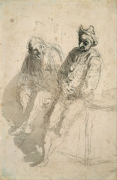 Honoré Daumier (French, 1808-1879), Deux saltimbanques, c.1865-70. Pen and grey wash on handmade paper, 24.1 x 15.6 cm.