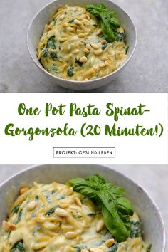 Recipe: One Pot Pasta Spinach Gorgonzola (only 20 minutes!- Rezept: One Pot Pasta Spinat-Gorgonzola (nur 20 Minuten! Gorgonzola Pasta, Healthy One Pot Meals, Easy Meals, Easy Pasta Recipes, Easy Dinner Recipes, One Pot Recipes, Clean Eating Results, Vegetarian Recipes, Healthy Recipes