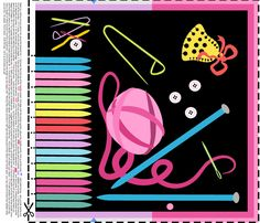 Knitting Needle Tidy - pink fabric by moirarae on Spoonflower - custom fabric