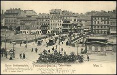 ÖNB/AKON Ansichtskarten Online: Wien I, Kaiser Ferdinandsplatz, Taborstrasse, Kaiser, Ferdinand, Time Travel, Hungary, Austria, Paris Skyline, Photographs, Black And White, History