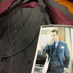 Dark grey Prince Of Wales check 3-piece suit ready for 2nd fitting. We were given a photo by our customer to copy the style of waistcoat that he has chosen.