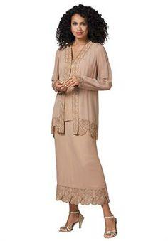 Three-Piece Beaded Carwash Skirt Set | Plus Size Wedding | Roamans