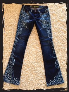 Mandala design on upcycled jeans by reMusedClothing on Etsy https://www.etsy.com/listing/171821095/mandala-design-on-upcycled-jeans