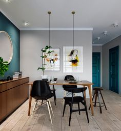 Dining room, teal, wood and black
