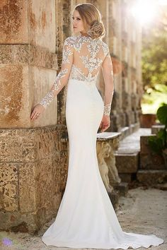 Sexy, comfortable sheath wedding dress by Martina Liana. The detail is incredible.