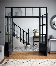 Crittall-style has been staging a comeback – and not just as windows and doors, but as walls, rear extensions, room dividers and even shower screens. The Doors, Windows And Doors, Iron Windows, Crittal Doors, Crittall Windows, Hallway Designs, Hallway Ideas, Room Doors, Home Renovation