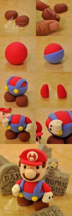 Super Mario fondant topper, part or to use fimo and keep as a figure. Fondant Toppers, Fondant Cakes, Cupcake Cakes, Fondant Bow, Car Cakes, Fondant Flowers, Mini Cakes, Bolo Do Mario, Bolo Super Mario
