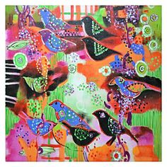 Partridge Parade Painted Canvas Wall Art by United Artworks | Zanui