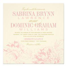 結婚式招待状|のピンクの花のシャクヤクのデザイン