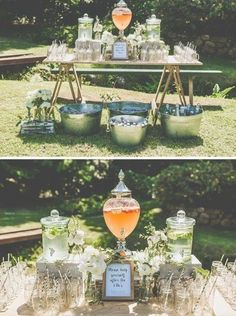 To decor a fantastic outdoor wedding ceremony, I've put together 35 my favorite outdoor wedding ideas and hope these will also give you some great inspiration for your wedding planning. #wedding #weddigdecor #weddingideas    -  #weddingdecorationideas #weddingdecorationideasCheap #weddingdecorationideasFlowers #weddingdecorationideasModern Wedding Drink Table, Wedding Tables, Outdoor Ceremony, Wedding Ceremony, Backyard Engagement Parties, Champagne Bar, Outdoor Wedding Decorations, Outdoor Weddings, Wedding Planning
