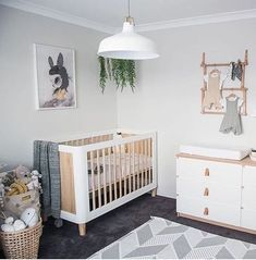 modern nursery decor #white #grey #wood #neutral