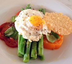 Asparagus Tomato and Egg Salad with Frico (fried Parmesan cheese).