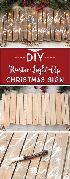 christmas signs DIY Rustic Light-Up Christmas Sign, DIY Christmas Decor, O Holy Night, Christmas Craft Tutorial Natal Diy, Navidad Diy, O Holy Night, 242, Diy Weihnachten, Winter Christmas, Christmas Vacation, Christmas 2019, Christmas Music