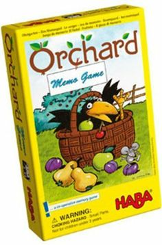 Haba Memo Orchard Matching Game Toy by HABA. $11.02. A co-operative memo game for 2 - 4 players. Ages 3-5 years. This games helps with colors and shapes, memory, and co-operation. HABA 3285 - HABA 3285 - Watch out! The cheeky raven wants to snatch lots of tidbits. Try to save all the fruit by turning over fruit tiles that match the color on the die. The aim of the game is to collect the fruit before the raven snatches everything. A co-operative memory game for 2-4 playe...