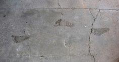 Skrivebordsbakgrunn: Fotspor på sement / Footprints