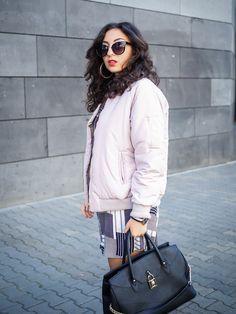 lavender lilac bomber jacket striped shirt dress outfit mango kleid boohoo…