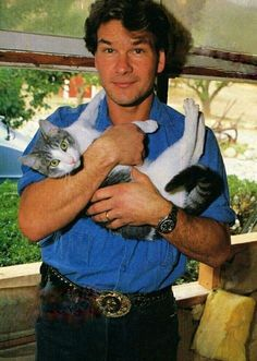 Patrick Swayze of I Love Cats, Crazy Cats, Cool Cats, Patrick Swayze, Men With Cats, Celebrities With Cats, Animal Gato, Dirty Dancing, Kitty Cats