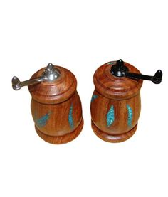 Gift Idea: Salt and Pepper Mill Set with Turquoise Inlay - Pretty + Practical = This salt and pepper mill set. You'll want to keep these where they can be seen and enjoyed.http://rusticartistry.com/product/salt-pepper-mill-set-turquoise-inlay/