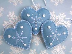 Felt Christmas heart ornaments,Handmade blue and white snowflake hearts,3 scandinavian embroidered heart decorations,winter wedding favours.