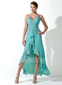 A-Line/Princess Sweetheart Asymmetrical Chiffon Prom Dress With Ruffle Beading Appliques Lace Sequins Cascading Ruffles (018005063)