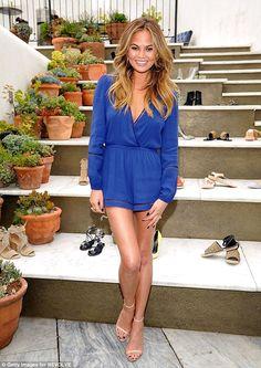 Best foot forward: Chrissy Teigen helped launch new shoe label Raye in West Hollywood, Cal...