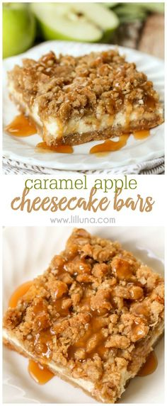 Delicious Caramel Apple Cheesecake Bars with a streusel topping and caramel! This is pretty good. We ate it warm because everyone wanted to eat it since it smelled so good Caramel Apple Cheesecake Bars, Cheesecake Recipes, Dessert Recipes, Caramel Apple Bars, Just Desserts, Delicious Desserts, Yummy Food, Easy Fall Desserts, Carmel Desserts