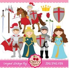 Little Knight and Princess digital clipart set for-Personal and Commercial Use. $5.00, via Etsy. Love this...nametags...thank you cards...Tooo cute!