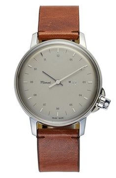 Miansai 'M12' Round Leather Strap Watch