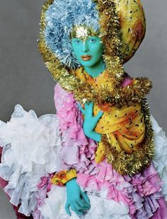 club-kid exhibitionism meets Bollywood when Karen Elson dressed up in this colorful look by John Galliano, with makeup by Pat McGrath. Photographed by Steven Meisel, Vogue, September 2003 Image Fashion, Foto Fashion, Fashion Art, Editorial Fashion, Vogue Editorial, Fashion Pics, Fashion Shoot, Street Fashion, John Galliano