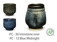 Photo of cup glazed with PC-36 Ironstone over PC-12 Blue Midnight