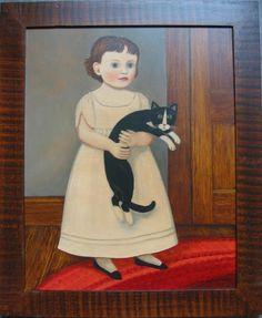 Girl in white with black & white cat | American Folk Art Painting - Diane Ulmer Pedersen