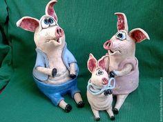 Статуэтки ручной работы. Ярмарка Мастеров - ручная работа. Купить Семейка Свинкиных . Handmade. Голубой, свинки, керамика-любава