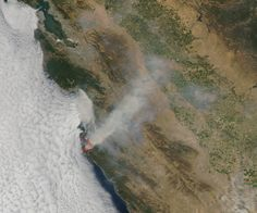 This natural-colour satellite image of the Soberanes fire in northern California, was collected by the Moderate Resolution Imaging Spectroradiometer (MODIS) aboard the Aqua satellite on July 26, 2016. Actively burning areas, detected by MODIS's thermal bands, are outlined in red.