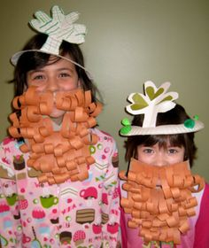 leprechaun beards and shamrock crowns for st. pat's day - too cute