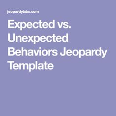 Expected vs. Unexpected Behaviors Jeopardy Template