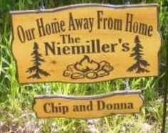 Personalized your own sign! Need a Sign for your campsite? We can design it just for you! Your choice of Top line wording Add your Family name or first names Design is Pines and stone firepit SquaredOval sign shape V Carved wood Sign Made from White Cedar Wood Outside edges are painted for a nice accent Available in three sizes 18 by 10 inches 3/4inch thick wood] or 18 x 12( If you want Town and State added use this size) or 22 x 12 available with or without hanging chain ...