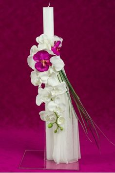 Christening candle ornated with soft tulle si elegant orchid flowers. Shops, Christening, Pink Color, Orchids, Tulle, Candles, Table Decorations, Elegant, Flowers