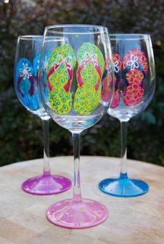 Flip Flop Hand Painted Wine Glasses Set of 4 by GloriousGoblets