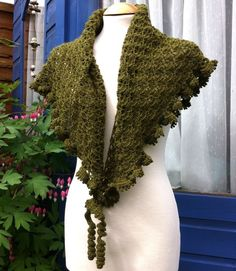 Moss green crochet shawl hand made in soft 4-ply wool with ruffled edge £39.99colour options for shawls
