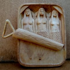 """""""Mermaids in a Can"""" Carved from Huon Pine (a Tasmanian wood)"""