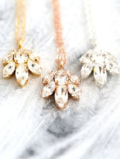 White Crystal Bridal Necklace Bridal Rose Gold Necklace by iloniti