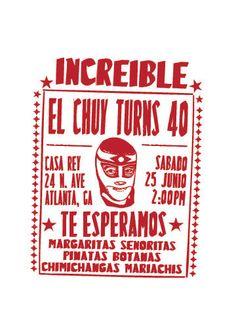 Lucha Libre Design Invitation by vivalapress on Etsy, $15.00
