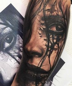 face 3D tattoo on arm