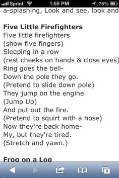 Firefighter song for baby Fall Preschool Activities, Preschool Songs, Preschool Curriculum, Montessori Activities, Kids Songs, Classroom Activities, Classroom Ideas, Firefighter School, Kids