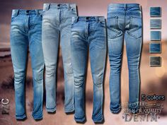Pinkzombiecupcakes' Denim Original Male Jeans | Sims 4 Updates -♦- Sims Finds & Sims Must Haves -♦- Free Sims Downloads