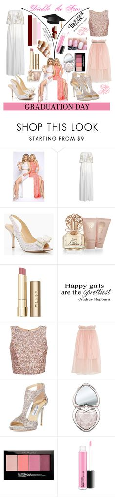 """Graduation: Double the Fun"" by niki-allen0119 ❤ liked on Polyvore featuring Mac Duggal, Monica •Lendinez, Kate Spade, Vince Camuto, Stila, WALL, Mother of Pearl, Jimmy Choo, Too Faced Cosmetics and Maybelline"