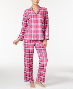 Charter Club Printed Flannel Pajama Set, Only at Macy's - All Pajamas & Robes - Women - Macy's
